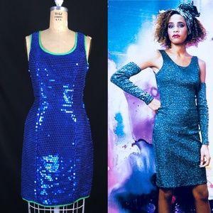 80's Mermaid Sequin Party Prom Dress Taffeta Bow